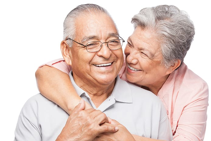 picture of man and woman hugging with a white background