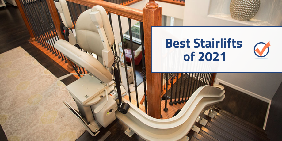 2021 stairlift reviews picture of lift at top of steps
